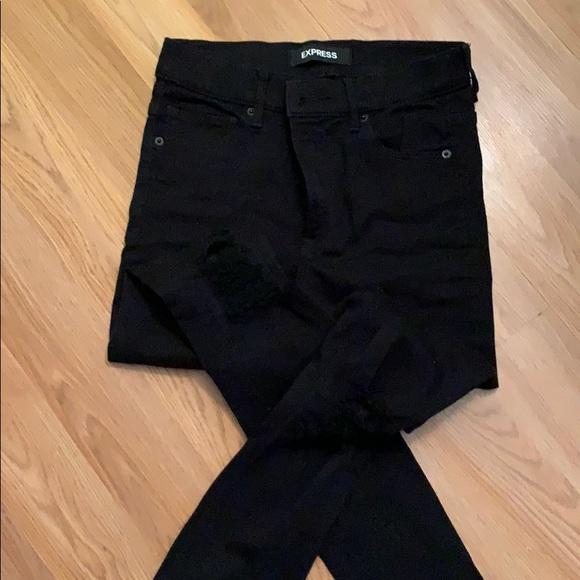 Black straight leg legging jeans